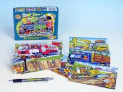Kostky kubus dřevěné Mašinka 12ks v krabičce