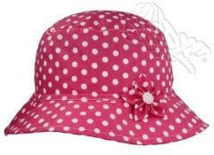Dívčí puntíkovaný klobouk s kytičkou vel. 54 - RŮŽOVÝ