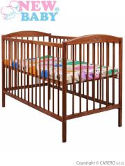 Dětská buková postýlka New Baby Pavel ořech - vyndávací příčky