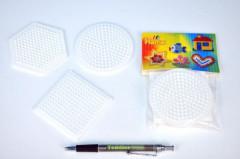 Podložka na zažehlovací korálky - kolečko,čtverec,šestiúhelník 3ks
