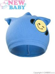 Podzimní dětská čepička New Baby Smajlík světle modrá vel. 110