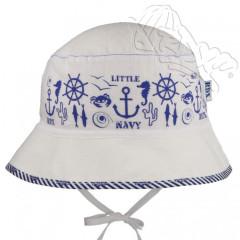 Letní klobouček na zavazování marine Bílý RDX