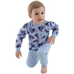 Bavlněné pyžamo Motorky na modré Esito