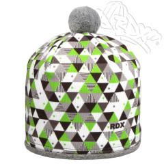 Zimní čepice s bambulkou trojúhelníky zelené RDX