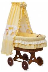 Proutěný koš na miminko s nebesy DRÁČEK - žlutá