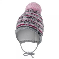 Čepice pletená zavazovací čárky Outlast® Šedorůžová