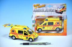 Auto ambulance kov 13cm česky mluvící na zpětné natažení