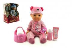 Panenka miminko Agusia plast 27cm pevné tělo pijící čůrající s doplňky