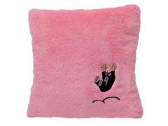 Krtek polštář s výšivkou růžový krtek hop