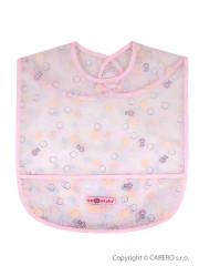 Dětský bryndák s kapsičkou Akuku růžový s bublinkami