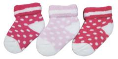 Froté ponožky kojenecké růžový puntík 0 - 6 měs  - 3 páry - VÝHODNÉ BALENÍ