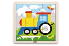 Dřevěné puzzle - mašinka 9 dílů Viga
