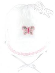 Lehká letní zavazovací kšiltovka bílá s výšivkou motýlka RDX