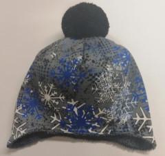 Zimní čepice na uši s bambulí wellsoft modro-bílé vločky RDX