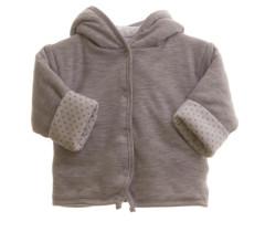 Oboustranný kabátek MKCool Thermo hvězdičky bílá/šedá bez kapuce
