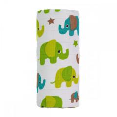 BIO Velká bambusová osuška 120 x 120 cm, zelení sloni T-tomi