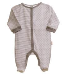 Kojenecký overal dlouhý rukáv/nohavice šedý proužek + hvězdičky MKCool