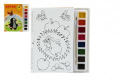 Omalovánky Krtek s vodovými barvami a štětcem