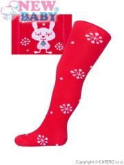 Vánoční bavlněné punčocháčky New Baby červené s vločkami a kočičkou vel 92 - 98