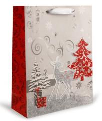 Dárková taška vánoční s glitry 26x32 cm SRNKA