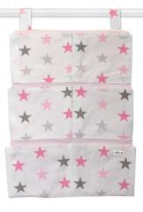 Kapsář 40 x 65 cm Baby Nellys Hvězdičky růžová + šedá