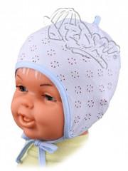 Lehká kojenecká čepička zavazovací MODRÁ vel. 0, 38-40cm (2-3 měsíce)