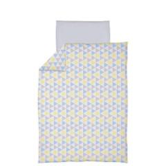 Povlečení do postýlky 2 dílné 100 x 135 cm Ceba - Trojúhelníky modro-žlutá