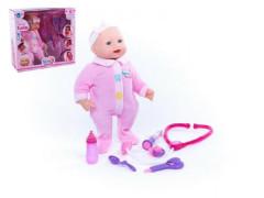 Panenka/miminko měkké tělo 45 cm s doplňky se zvukem a se světlem