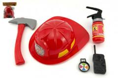 Hasičská sada helma + hasičák stříkací vodu