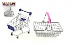 Nákupní košík a vozík kov 15cm