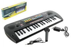 Piánko plast s mikrofonem + adaptér 37 kláves 50cm