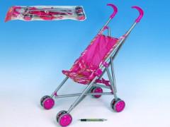 Kočárek pro panenky golfové hole růžový kovový