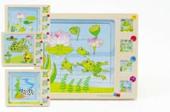 Dřevěné puzzle vývoj žáby