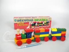 Vlak dřevěný - Vláček s kostkami