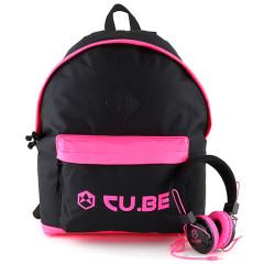 Batoh se sluchátky CU.BE - černý s neonově růžovými doplňky