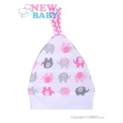 Kojenecká čepička New Baby Sloník bílo-růžová vel. 56
