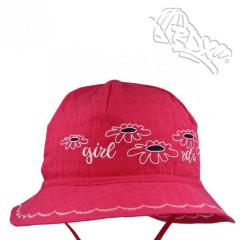 Dívčí letní vázací klobouk Kytičky Malinový RDX