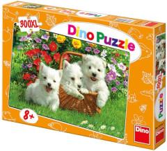Puzzle Psi Westíci v košíku XL 47x33cm 300 dílků