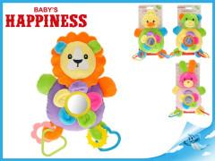Zvířátko plyšové chrastítkem a kroužky Baby´s Happiness