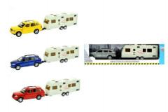 Auto s karavanem kov/plast 29cm na zpětné natažení