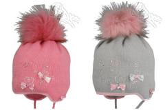 Zimní dívčí zavazovací čepice s bambulkou a mašličkami RDX Vel. 3