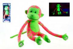 Opice svítící ve tmě plyšová růžová/zelená