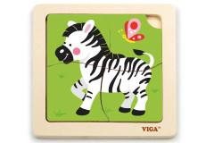 Dřevěné puzzle - zebra 4 dílky Viga