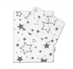 Bavlněné povlečení Baby Nellys 135 x 100 cm Šedé hvězdy a hvězdičky - bílý