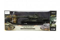 Tank RC plast 33cm T34 27MHz na baterie+dobíjecí pack se zvukem a světlem