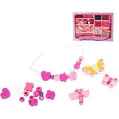 Korálky navlékací dřevěné růžové