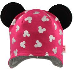 Bavlněná čepička na uši s oušky Mickey Růžová RDX