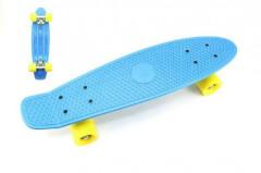 Skateboard - pennyboard 60cm, nosnost 90kg, kovové osy, modrá barva, žlutá kola