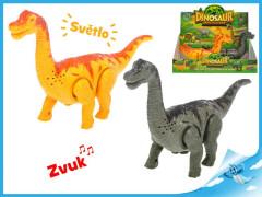 Brontosaurus chodící na baterie se světlem a zvukem