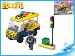 EDUKIE stavebnice policejní auto transporter se semaforem 69 ks + 1 figurka
